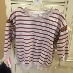 Striped crew neck with funky arm design